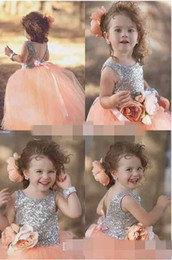 pink little princess gown NZ - Custom Made Peach Pink Shiny Sequin Princess pageant Dresses For Your Little Girl Handmade Flower Ball Gown Flower Girls' Dresses