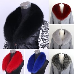 Barato Revestimentos De Peles Reais Por Atacado-Atacado- Genuine Real Natural Whole Fox Fur Collar Blue Fox Fur Scarf 80cm Fur Luxury Collar Scarf / Shawl / Wrap Neck Thick Warm