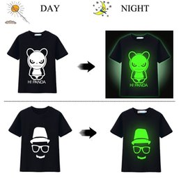 Shorts De Crâne Enfants Pas Cher-25pcs / lot Boys T-Shirts Short Sleeve Luminous Blouse Panda Fluorescent Children tops 100% coton Enfants Vêtements Girl Blouse Tees Skull