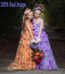 Wedding Dresses Handmade Flowers Real Images Canada - Real Images Flower Girls Dresses With Handmade Flowers V Neck Floor Length Girls Pageant Dresses Back Lace Up Lovely Girls Wedding Gowns
