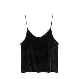 715fd91cdb Black Sleeveless Sexy Top Woman Designers Tops Brand Sexy Low Cut Tops  Velvet Spaghetti Strap Cami Top Camisole