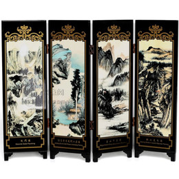 bamboo screening Canada - 4 fan lacquer screen decoration business affairs to study the living room landscape painting gift Chang