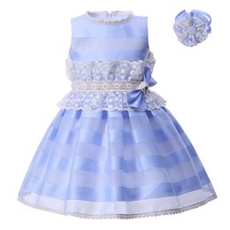 Chinese  Pettigirl Girls Blue Striped Dress Cotton Linning Summer Casual Dresses Bowtie Lace Big Sash Boutique Children Girl Clothing G-DMGD004-B23 manufacturers