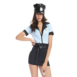 Costumes De Police Pour Femmes Pas Cher-Halloween Women Cosplay Costume Patrol Police Uniforme Sexy Mini Dress Cop Role Play Themed Party Outfit Fancy Dress