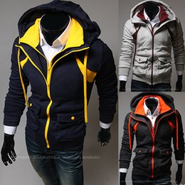 Barato Casacos Com Zíper Duplo-Atacado-Luxo Assassin's Creed 3 Men's Casual Jackets Sweatshirt Men Hoody Jacket Coat Hoodie Double Zipper Casacos femininos moletom