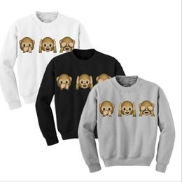Manches Longues À Manches Longues Pas Cher-Vente en gros- Femelle Monkey Patterns Sweatshirt Femme Hoodies d'automne Long Sleeve O-Neck 3D Emoji Printed Girls Vêtements Hoodie en molleton