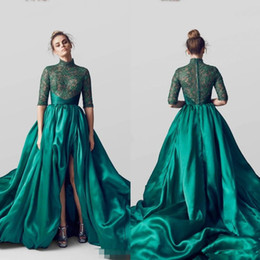 $enCountryForm.capitalKeyWord UK - Amazing Emerald Green Long Train Evening Dresses 2017 Long High Split Formal Gowns Women Vintage Green Prom Dress Vestidos