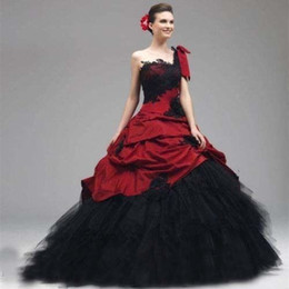 Gothic Wedding Dresses Black White Red Canada   Best Selling Gothic ...