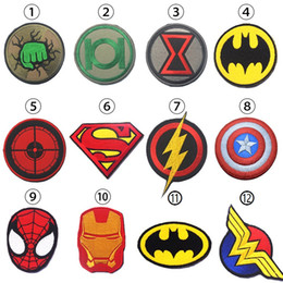 Armée De Dessin Animé Pas Cher-Cartoon Justice League Super Hero Homme de fer Superman Tactical Patch Embroidered HookLoop Badge Army 3D Anime Game Badge free ship