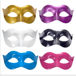 Discount black zorro masks - 7 colors Men Masquerade Mask Fancy Dress Venetian Masks Masquerade Masks Plastic Half Face Mask Halloween party bar cosp