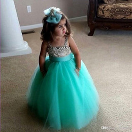 Wholesale Hot Sale Mint Green Flower Girl Dresses Ball Gown Tulle Beaded Crystal Girls Dresses Sizes Formulate