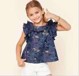 Chica Blusas Moda Baratos-Big Baby Girls Print Floral Shirts Teenager Fashion Flutter manga blusa Junior Summer Casual Tops 2017 ropa para niños