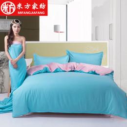 Double Color Bedding Australia - Wholesale- Cotton Plain coloured Double face Color matching duvet cover set 3 4pcs Bedding Set Fashion sport Pure color quilt cover set