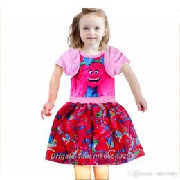 26044232dc28 2017 New Girls Good Luck Trolls Short Sleeve Dress Children Cotton Summer  Splicing Princess Clothes Two Colors 4pcs lot Kids Clothing