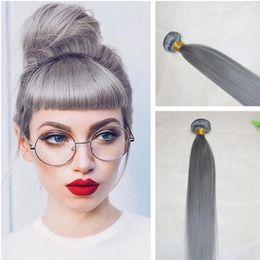 Cheap Colored brazilian hair bundles online shopping - 8A Peruvian Grey Virgin Human Hair Weaves Pure Colored Sliver Grey Silk Straight Virgin Hair Bundles Cheap Human Hair Extensions