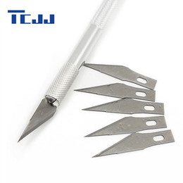 $enCountryForm.capitalKeyWord NZ - Wholesale- Stainless Steel Pastry Fruit Sculpting Knife 6 pcs Blade Carving Tool Cake Decorating Tools Cutting Model Baking Cutter
