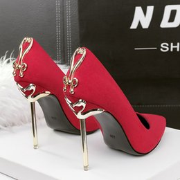 Lady Dress Shoes Women Pumps Heels Bowknot Metal Thin High Festival Party Wedding Slip On Formal Sandals GWS236