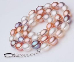rice pearls mix Canada - 7-8mm Natural South Sea Rice Shape White Pink Purple Mix Colour Pearl Necklace 17 Inch 925 Silver Clasp