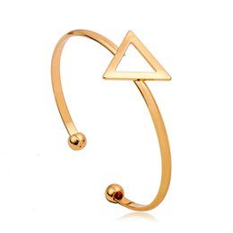 Gold Silver Bracelet Charms Canada - Hollow Triangle Charm Bangles for Women Adjustable Opening Bracelets Gold Silver Black Alloy Bracelets Fashion Bangles