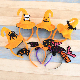 Chapeau De Conception Pour Enfants Pas Cher-Nouveau 8 Designs Halloween Hairbands With Witch Hat For Girls Enfants Adulte Cute Fabric Velvet Cap Hard Headbands Party Hair Accessories