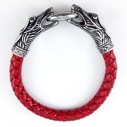 $enCountryForm.capitalKeyWord Canada - Men's Jewelry Dragon Head Style Titanium Stainless Steel Genuine Leather Bracelets Bangles With Latch Catch Cuff Braided Wrap 4 Colours