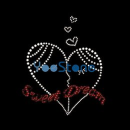 heart rhinestone transfer NZ - Wholesale Love Sweet Heart Rhinestone Iron On Transfers Hotfix Motif For T-Shirts