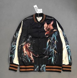 Tiger Uniform Canada - Wholesale- Eagle&Tiger Printing Designer Bomber Jackets Kpop Rockstar Stage Uniform Mens 2016 New Satin Fabrics Stand Collar Varsity Jacket