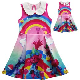 Robe Robe Fille Pas Cher-Girl Trolls Princess lapel Rainbow dress New Enfants de haute qualité cartoon trolls veste sans manches robes bébé enfants vêtements B001