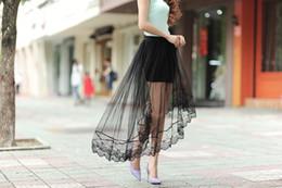 2016 nuevas mujeres del verano faldas atractivas del cordón falda larga de la sección de la moda de las mujeres Jupe Tulle falda corta blanca y negro en venta