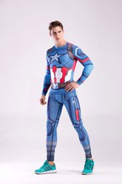 T Shirt Digital Printing Sport Australia - 2019 Men Gym Clothing Sport Suit Captain America digital printing long sleeved T-shirt fitness suit sport clothes sweat quick drying sets