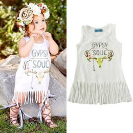 Vêtements D'été Vêtements Bébé Pas Cher-2017 Summer Baby Girls Robes sans manches Tassels White Vest Dress Imprimer Gypsy Soul Elk Head Skull Boho Vêtements Lettre Boy Girl Clothing