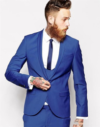 Chinese  Groom Tuxedos Groomsmen One Button Blue Best Man Suit Wedding Men's Blazer Suits Custom Made (Jacket+Pants+Vest+Tie) K131 manufacturers