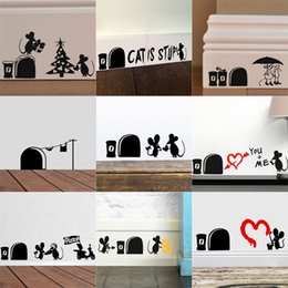 $enCountryForm.capitalKeyWord Canada - Free shipping Cute Funny 3d Cartoon Mouse Holes Home Wall Sticker Wall Decor Children Room Decor DIY Vinyl Sticker Decal