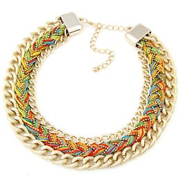 Colourful pendant neCklaCe online shopping - Braided chain statement necklace rainbow rope chain collar necklace fashion metal alloy chain pendant necklace exaggerated colourful WL