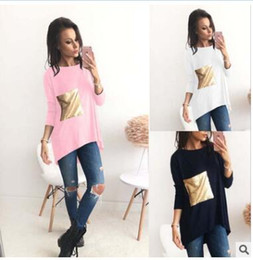 Barato Painéis De Camisa-Mulheres Summer Solid Color T-Shirt Europa e América Hot Sale Nova estilo Sequin Paneled Fashion Casual T-Shirt