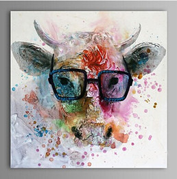 $enCountryForm.capitalKeyWord Australia - Framed Pure Handpainted Modern Abstract Animal Graffiti Art oil painting Cow,On High Quality Canvas for Home Wall Decor size can customized