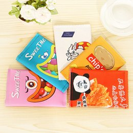 Discount stationery leather - Wholesale- Hot Sales Creative Chips School Pencil Case Cute Pu Leather Pen Bag Kawaii Stationery Pouch Office School Sup