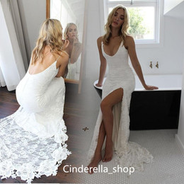 Robe De Mariée Haute Robe Pas Cher-Sexy Full Lace High Split Mermaid Robes de mariée Manches longues Gaine V Neck Open Bas de dos White Beach Robes de mariée Cheap Sale Simple