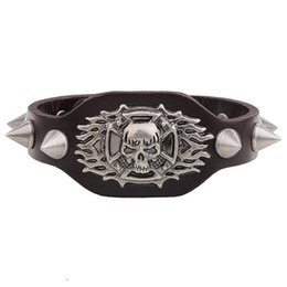 China Wholesale-New Arrival Wide Leather Bracelet Retro Cuff Rope Cowboy Rider Harley Motor Cycles Punk Skull Rivet Men Bracelets cheap wide chain bracelet suppliers