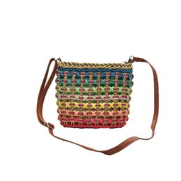 Knitting For Girls Bag Canada - Wholesale-Women Designer Messenger Bag Bohemian Knitting Woven Rattan Pattern Shoulder Bag for Girls National Hollow Out Cross-body Bag