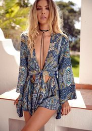 Salopette Floral De Dames Pas Cher-Hot Europe Fashion Femmes Floral Printed Short Jumpsuits Lady Deep V Neck Casual Shorts Shorts Jumpsuit Bleu Rose