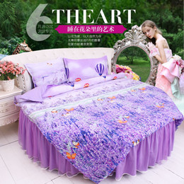 solid aqua bedding NZ - round corner bed bedding 4pcs sets 200cm 220cm diameter round Lavender duvet cover bedskirt pillowcase king queen size beddingfree shipping