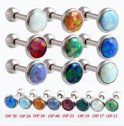 Titanium Lip Piercing NZ - 10PCS Luxury Natural Opal Ear Bone Nail 16G Nose Piercing Ombligo 1.2x6x3 4 5mm Opal Lip Piercing Nombril Body Jewelry
