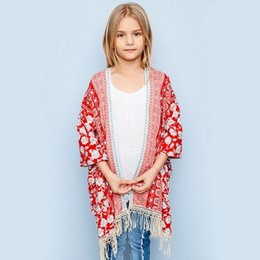 Chemise Châles Filles Pas Cher-Big Boys Cardigan New Floral Tassel Chemises Enfants 2017 Bohemia style Summer Kids Beach Casual Loose Shawl C1105