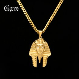 b1cc3506dbb4 Stainless Steel Stereoscopic Pharaoh Avatar Pendant Cuban Chain Diamond Hip  Hop Color Egyptian King Necklace Wholesale