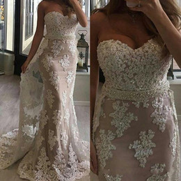 MerMaid proM dress white pearl sheer online shopping - 2017 Mermaid Prom Dresses Sweetheart Full Lace Appliques Beaded Pearls Sashes Overskirts Sweep Train Party Dress Plus Size Evening Gowns
