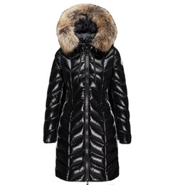 Wholesale women's down jackets resale online - New Fashion Women s winter Thickening warm hooded big Fur collar Slim down jacket outwear coat