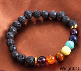 Venta al por mayor de Venta caliente Unisex volcán Chakra pulseras de energía pulseras de piedras de lava natural 8mm pulseras de perlas de colores envío gratis