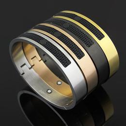 Chain Cuffed braCelet online shopping - Brand Bijoux Stainless Steel Rose Gold Mont bracelets for women Resin cuff bangles Genuine Titanium Steel men Bracelets For Male bangles