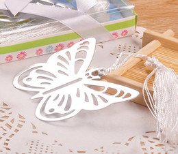 Butterflies Baby Shower Canada - 20pcs Silver Stainless Steel Butterfly Bookmark For Wedding Baby Shower Party Birthday Favor Gift CS004